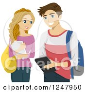 Clipart Of A Teenage Couple Using A Tablet Computer Royalty Free Vector Illustration