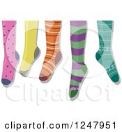 Clipart Of Hanging Colorful Socks Royalty Free Vector Illustration by BNP Design Studio