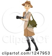 Clipart Of A Young Safari Woman Carrying A Camera Royalty Free Vector Illustration by BNP Design Studio