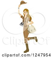 Clipart Of A Young Safari Woman Waving Her Hat Goodbye Royalty Free Vector Illustration