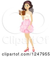 Clipart Of A Teen Girl Reading A Book In A Dress Royalty Free Vector Illustration