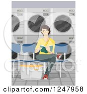 Clipart Of A Happy Young Man Reading And Sitting In A Laundromat Royalty Free Vector Illustration