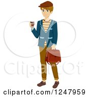Clipart Of A Parisian Teen Guy With Coffee And A Travel Bag Royalty Free Vector Illustration