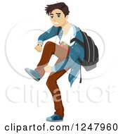 Clipart Of A Teenage Guy Running Late To School Royalty Free Vector Illustration