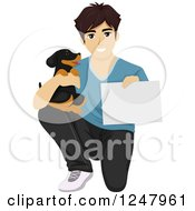 Clipart Of A Teenage Guy Kneeling With A Puppy And A Certificate Or Sign Royalty Free Vector Illustration