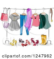 Clipart Of A Ladies Clothing Rack With Apparel Royalty Free Vector Illustration