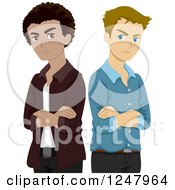 Clipart Of Angry Guys Standing Back To Back Royalty Free Vector Illustration