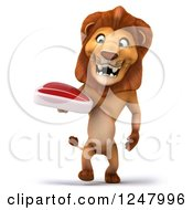 Clipart Of A 3d Lion Walking With A Steak Royalty Free Illustration