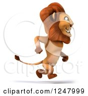 Clipart Of A 3d Lion Running Upright Royalty Free Illustration