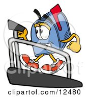 Blue Postal Mailbox Cartoon Character Walking On A Treadmill In A Fitness Gym