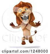Clipart Of A 3d Lion Running Upright 2 Royalty Free Illustration