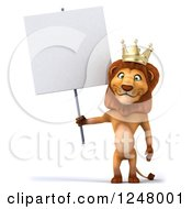 Clipart Of A 3d Lion King Standing And Holding A Blank Sign Royalty Free Illustration