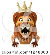 Clipart Of A 3d Lion King Roaring Over A Sign Royalty Free Illustration