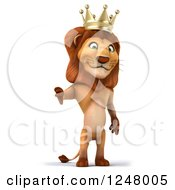 Clipart Of A 3d Lion King Holding A Thumb Down Royalty Free Illustration