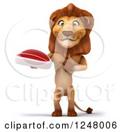 Clipart Of A 3d Lion Holding A Steak Royalty Free Illustration