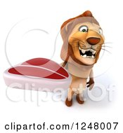 Clipart Of A 3d Lion Holding A Steak 2 Royalty Free Illustration