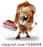 Clipart Of A 3d Lion Roaring And Holding A Steak Royalty Free Illustration