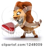 Clipart Of A 3d Lion Roaring And Holding A Steak 2 Royalty Free Illustration