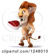 Clipart Of A 3d Lion Walking With A Steak 2 Royalty Free Illustration