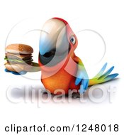 Clipart Of A 3d Macaw Parrot Holding A Double Cheeseburger Royalty Free Illustration