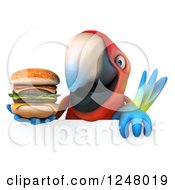 Clipart Of A 3d Macaw Parrot Holding A Double Cheeseburger Over A Sign Royalty Free Illustration