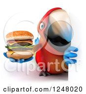 Clipart Of A 3d Macaw Parrot Holding A Double Cheeseburger Around A Sign Royalty Free Illustration