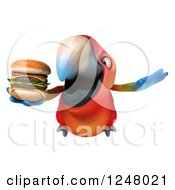Clipart Of A 3d Macaw Parrot Flying With A Double Cheeseburger Royalty Free Illustration