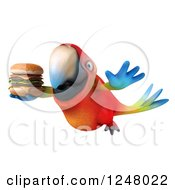 Clipart Of A 3d Macaw Parrot Flying With A Double Cheeseburger 2 Royalty Free Illustration
