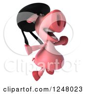 Clipart Of A 3d Breton Pig Jumping Royalty Free Illustration