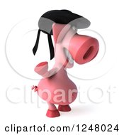 Clipart Of A 3d Breton Pig Facing Right And Waving Royalty Free Illustration