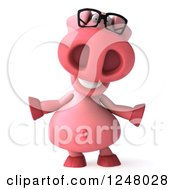 Clipart Of A 3d Happy Bespectacled Pig Shrugging Royalty Free Illustration