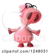 Clipart Of A 3d Bespectacled Pig Shrugging Royalty Free Illustration