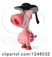 Clipart Of A 3d Breton Pig Facing Left Royalty Free Illustration