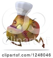 Clipart Of A 3d Chef Monster Germ Running 2 Royalty Free Illustration by Julos