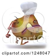 Clipart Of A 3d Chef Monster Germ Running 3 Royalty Free Illustration by Julos