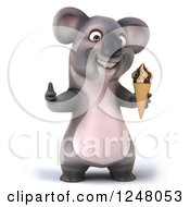 Clipart Of A 3d Koala Holding An Ice Cream Cone And Thumb Up Royalty Free Illustration
