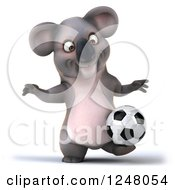 Clipart Of A 3d Koala Playing Soccer 14 Royalty Free Illustration