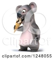 Clipart Of A 3d Koala Eating An Ice Cream Cone 2 Royalty Free Illustration