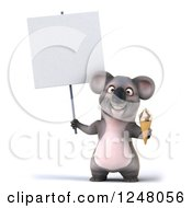 Clipart Of A 3d Koala Holding An Ice Cream Cone And Blank Sign Royalty Free Illustration