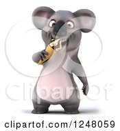 Clipart Of A 3d Koala Eating An Ice Cream Cone Royalty Free Illustration