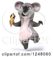 Clipart Of A 3d Koala Jumping With An Ice Cream Cone Royalty Free Illustration