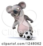 Clipart Of A 3d Koala Playing Soccer 10 Royalty Free Illustration