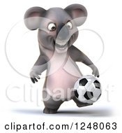 Clipart Of A 3d Koala Playing Soccer 11 Royalty Free Illustration