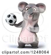Clipart Of A 3d Koala Holding And Pointing To A Soccer Ball Royalty Free Illustration