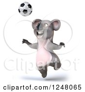 Clipart Of A 3d Koala Playing Soccer 12 Royalty Free Illustration