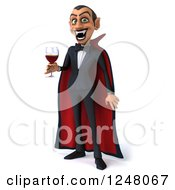 Clipart Of A 3d Dracula Vampire Holding Wine Or Blood Royalty Free Illustration