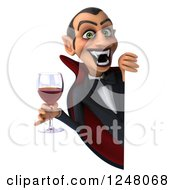 Clipart Of A 3d Dracula Vampire Holding Wine Or Blood Around A Sign Royalty Free Illustration