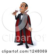 Clipart Of A 3d Dracula Vampire Drinking Wine Or Blood Royalty Free Illustration