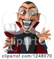 Clipart Of A 3d Dracula Vampire Holding Wine Or Blood Cropped From The Torso Up Royalty Free Illustration