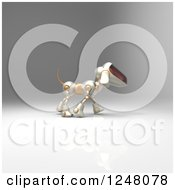 Clipart Of A 3d Robot Dog Walking 7 Royalty Free Illustration